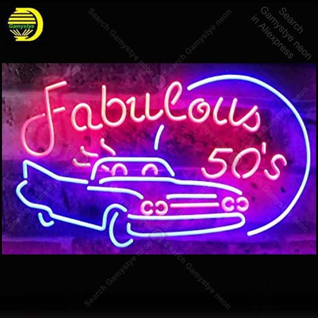 Fabulous 50s Sport Car Man Cave Neon Signs Custom Light Sign Beer Bar Real Gl Lamps Home Decor Handcraft