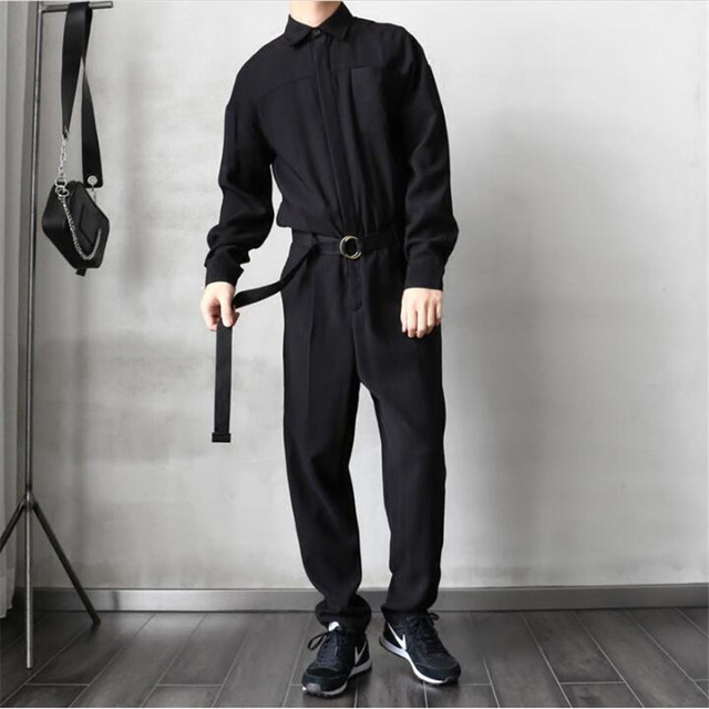 022a4e12fd41 Black Baby Jumpsuit Casual Loose Mens Rompers Long Sleeve Belt Bodysuits  Quality Single Breasted Pants Men S