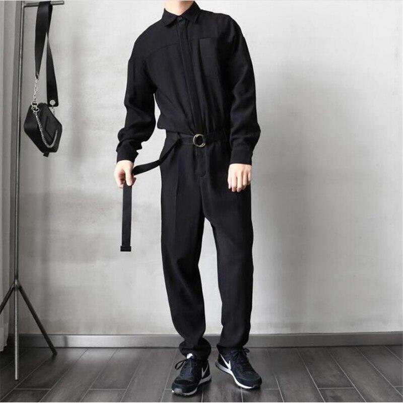 Noir Bébé Salopette Lâches Occasionnels Mens Barboteuses À Manches Longues Ceinture Combinaisons Qualité Unique Poitrine Pantalon Hommes Pantalon A5210