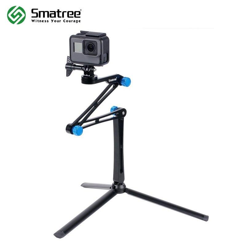 Smatree X1S pôle pliable/monopode pour GoPro Hero 8/7/6/5/4/3 +/3/Session, Ricoh Theta S/V, pour caméras d'action DJI OSMO, téléphones portables