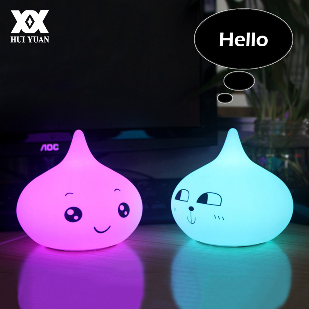 Cute Cartoon Expression Soft Silicone Night Light USB Charge LED 7 Color Breathing Lamp Decorative Sleep Lamp Children Gift