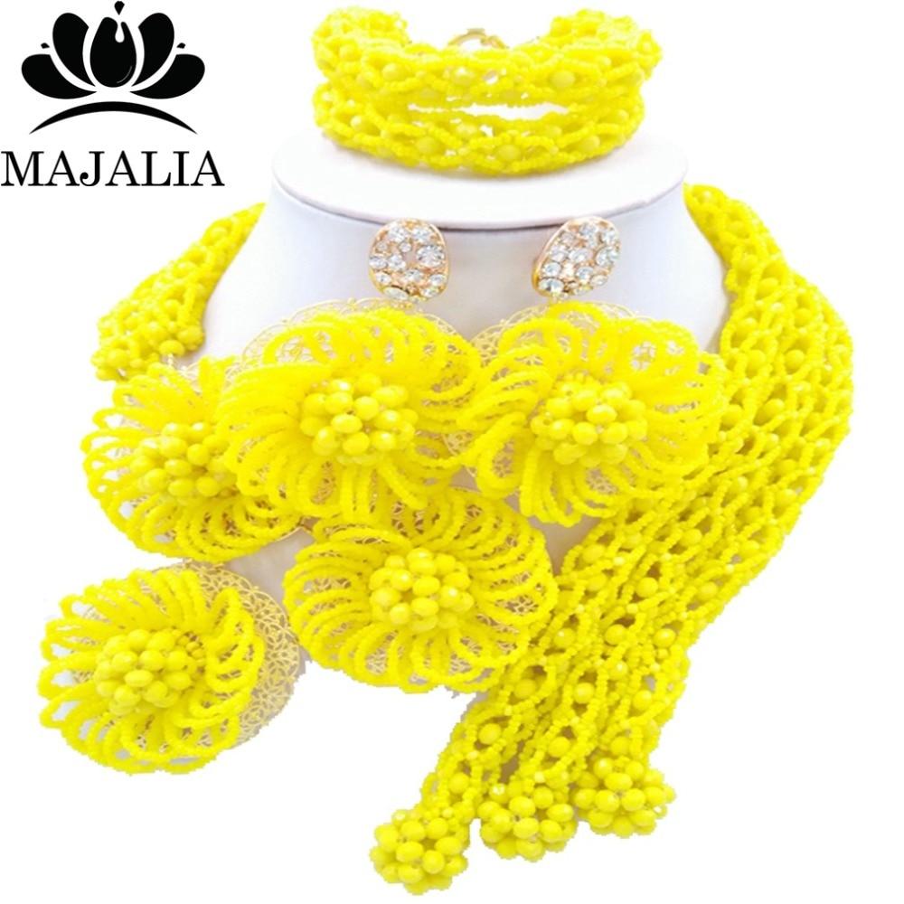 Majalia Fashion african beads jewelry set yellow Nigeria Wedding Crystal necklace Bridal Jewelry sets Free shipping VV-014Majalia Fashion african beads jewelry set yellow Nigeria Wedding Crystal necklace Bridal Jewelry sets Free shipping VV-014