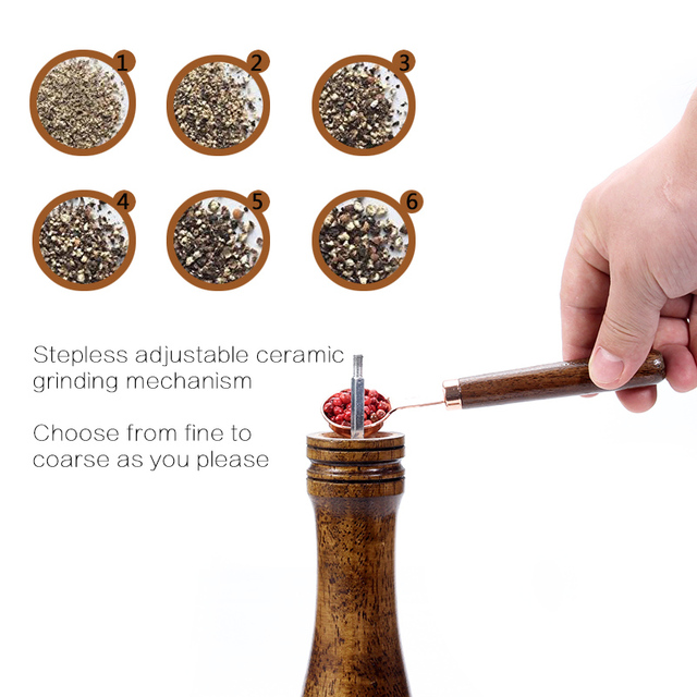 Wood Pepper Mill with Strong Adjustable Ceramic Grinder