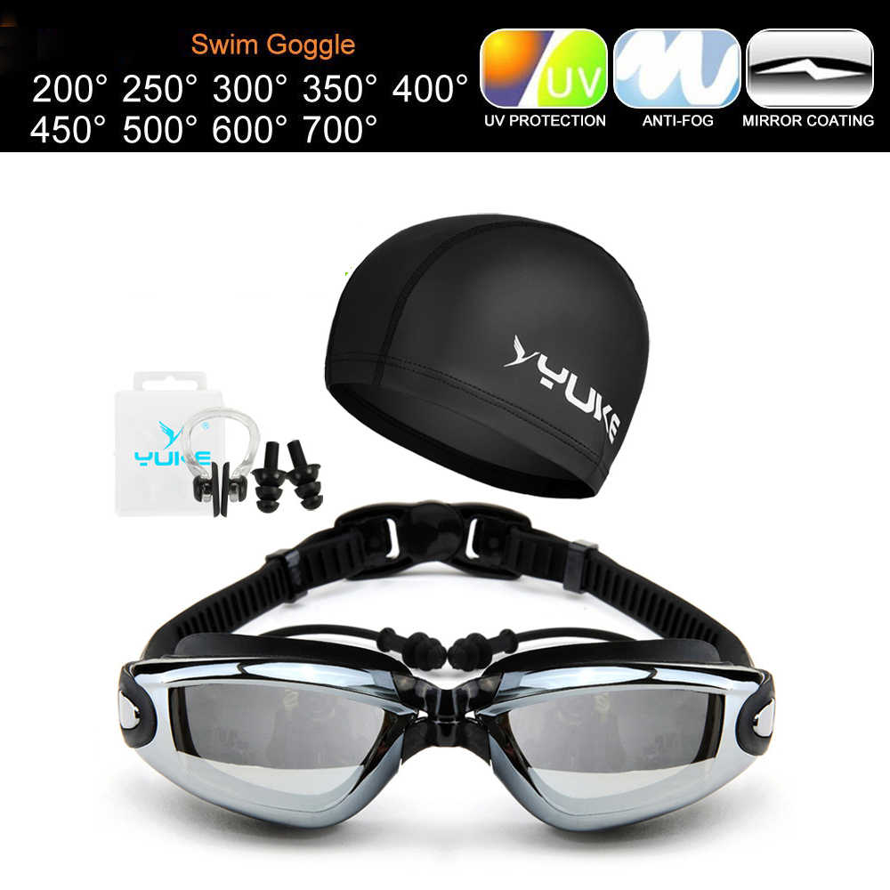 d4275b2efa3 3Pcs Set Myopia Swimming Goggles Anti-Fog BreakingUV Adjustable Swim Eyewear  Men Women Waterproof