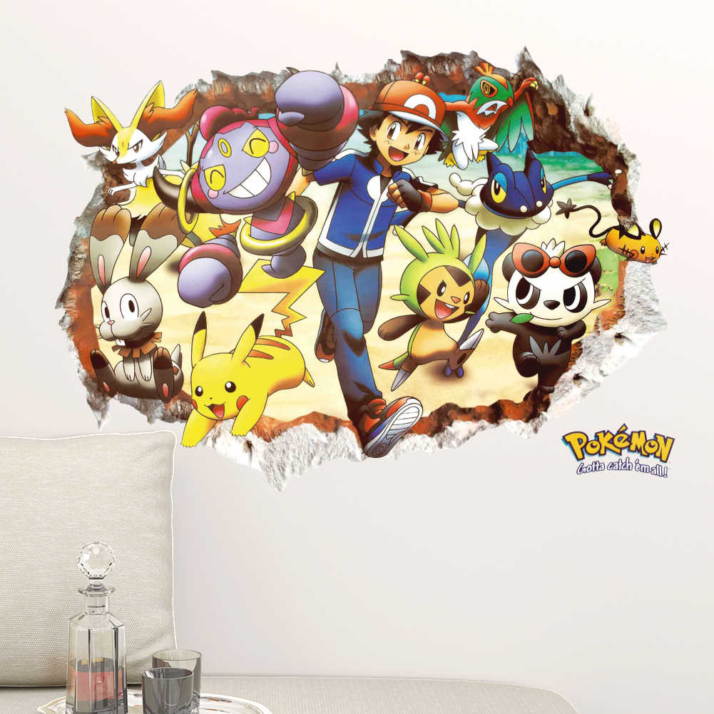 Pikachu broken wall Removable wall sticker DIY cartoon anime pokemon go game children's room kindergarten decorative art sticker