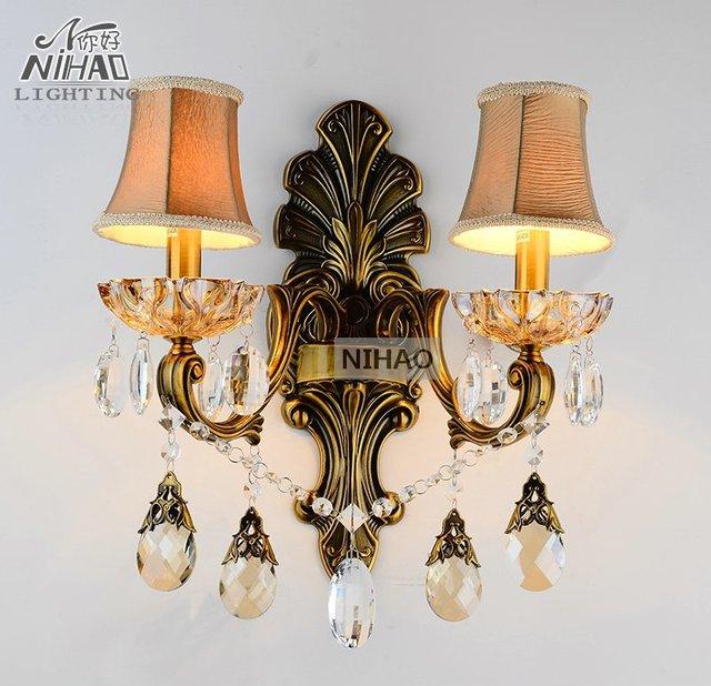 Antique Br Wall Sconces Crystal Light Fixture 2 Arms Vintage Home Lighting Bracket Bra