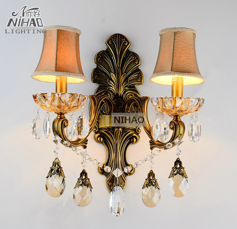 Antique Brass Wall Sconces Crystal Light Fixture 2 Arms Vintage Home Lighting Wall Bracket Bra Light