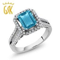 GemStoneKing 2.78 Ct Zümrüt Kesim Doğal Mavi Topaz Alyans 925 Gümüş Nişan Yüzükler Kadınlar Için