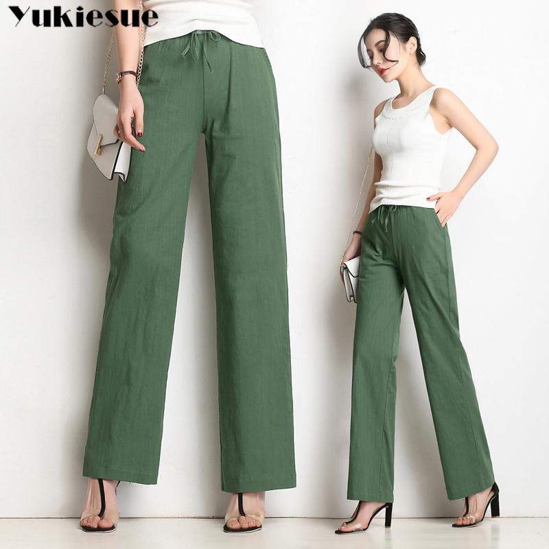 streetwear cotton and linen wide leg   pants   for women trousers women's   pants     capris   casual straight   pants   female Plus size 4XL