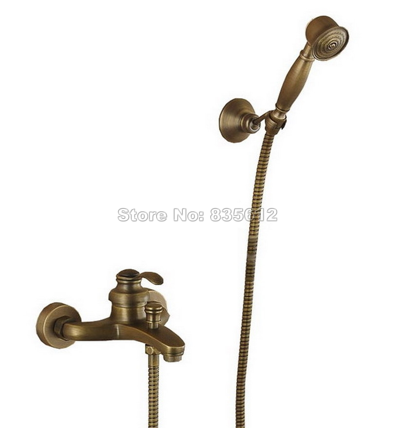 Retro Single Handle Bathroom Shower Bathtub Faucet Set Antique Brass Finish Wall Mounted Handheld Shower Mixer Taps Wrs015 купить в Москве 2019