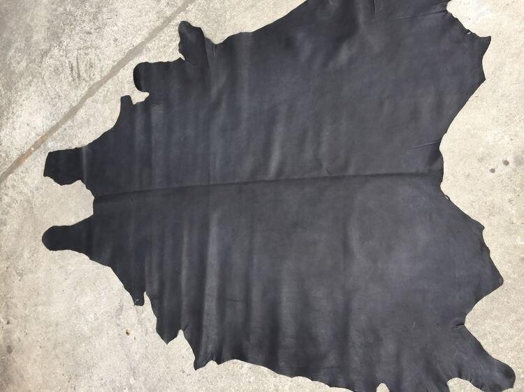 Matière première en cuir de vachette véritable noir