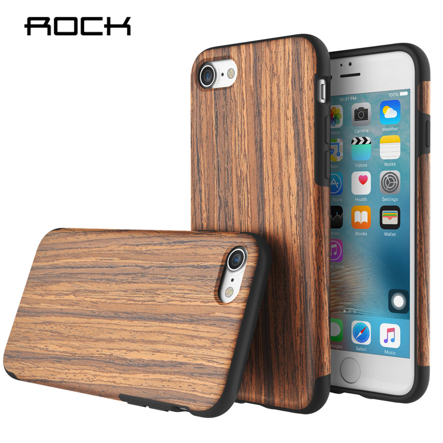 Rock Origin Series Wood Pattern Luxury Soft Silicone Case Cover For Apple <font><b>iPhone</b></font> 7 / 7 Plus Mobile Phone Coque Housing