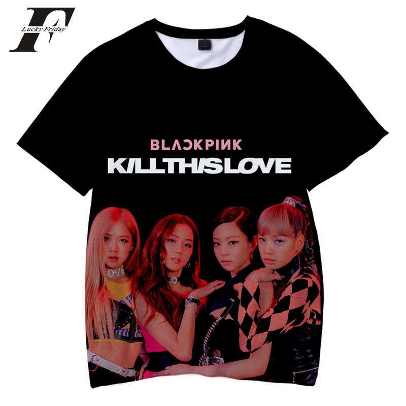 Blackpink 3D Printe Família correspondência T-shirt Moda Verão de Manga Curta T-shirts O-pescoço Kpop t Streetwear