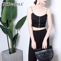 TWOTWINSTYLE Crop Top Voor Vrouwen Parels Spaghetti Hoge Taille Tank Zomer Sexy Trui Vest 2018 Mode Grote Size Kleding
