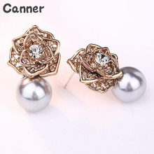 Canner Fsahion Inlaid Rhinestone Vintage Rose Flower Stud Earrings For Women Elegant Pearl Piercing Earrings Jewelry a suit of gorgeous fake pearl rhinestone hollow out flower necklace and earrings for women