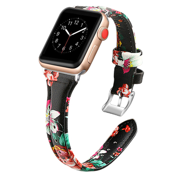 Ikatydid Printed leather strap for apple watch 4 3 band 44mm 42mm correa 38mm 40mm bracelet for iwatch series 4/3/2/1 wrist belt