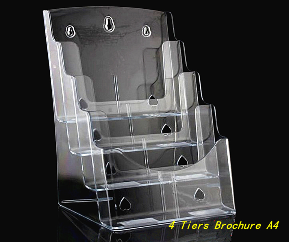 Clear A4 4 Tiers Plastic Acrylic Brochure Literature Pamphlet Display Holder Racks Stand To Insert Leaflet 12pcs clear 2pcs a5 3 tiers plastic brochure literature pamphlet display holder racks stand to insert leaflet on desktop