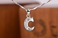 Fashion jewelry-Elegant 925 Sterling Silver initial alphabet C with crystal pendant clavicle necklace chain best birthday gift