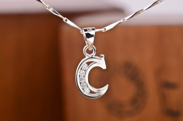 Moda jóias-Elegante 925 Sterling Silver alfabeto inicial C com pingente de cristal clavícula cadeia colar melhor presente de aniversário