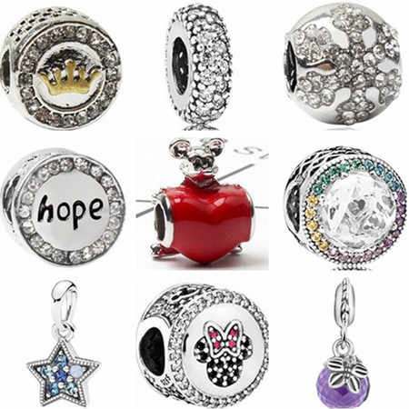Gorgeous Crystal Minnie Mouse Snowflake Star Crown Love Heart Beads Fit Pandora Charms Bracelets For Women DIY Jewelry Berloques