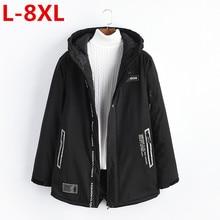 new plus sizse L-8XL Men Winter Casual New Hooded Thick Padded Jacket Zipper Slim Long section Men  Coats Men Parka Outwear Warm