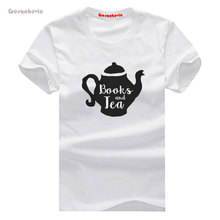 Books and Tea New Fashion Man T-Shirt Cotton O Neck Mens Short Sleeve Mens tshirt Male Tops Tees Wholesale