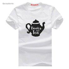 Books and Tea New Fashion Man T-Shirt Cotton O Neck Mens Short Sleeve Mens tshirt Male Tops Tees Wholesale