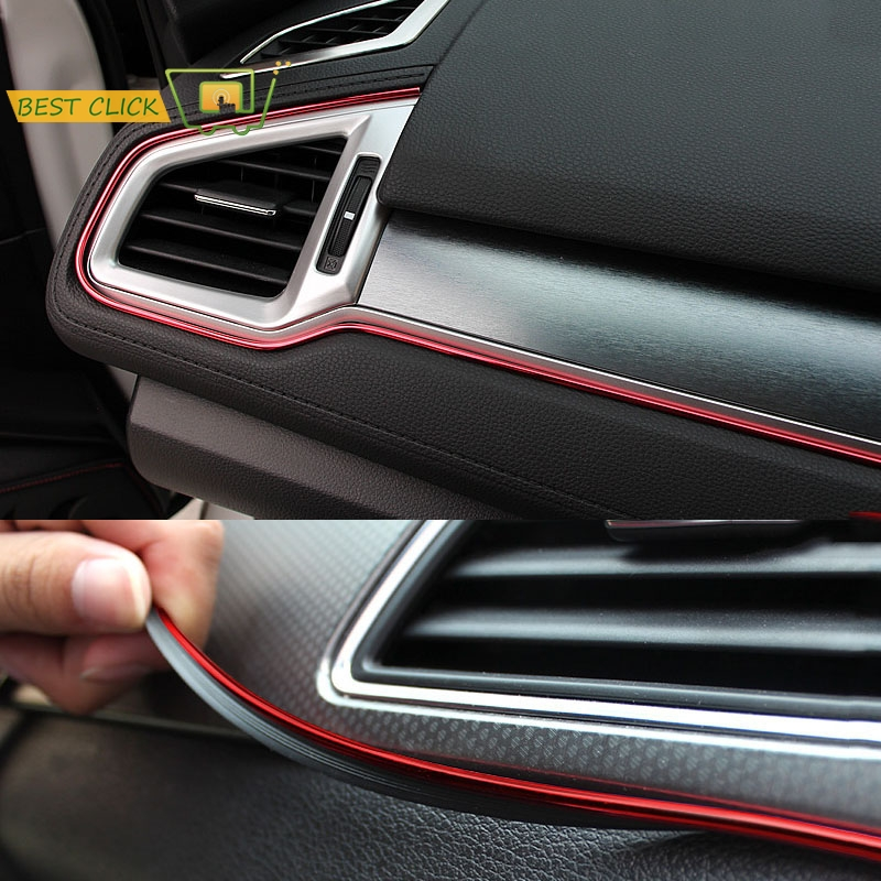 5M Red Car Interior Moulding Trims Line Strips Car Styling Door Dashboard Air Outlet Decorative Sticker Auto Accessories-in Car Stickers from Automobiles & Motorcycles