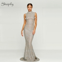 Long Evening Dress 2019 Mermaid High Neck Sparkly Sleeveless Floor Length Women Arabic Style Evening Dresses