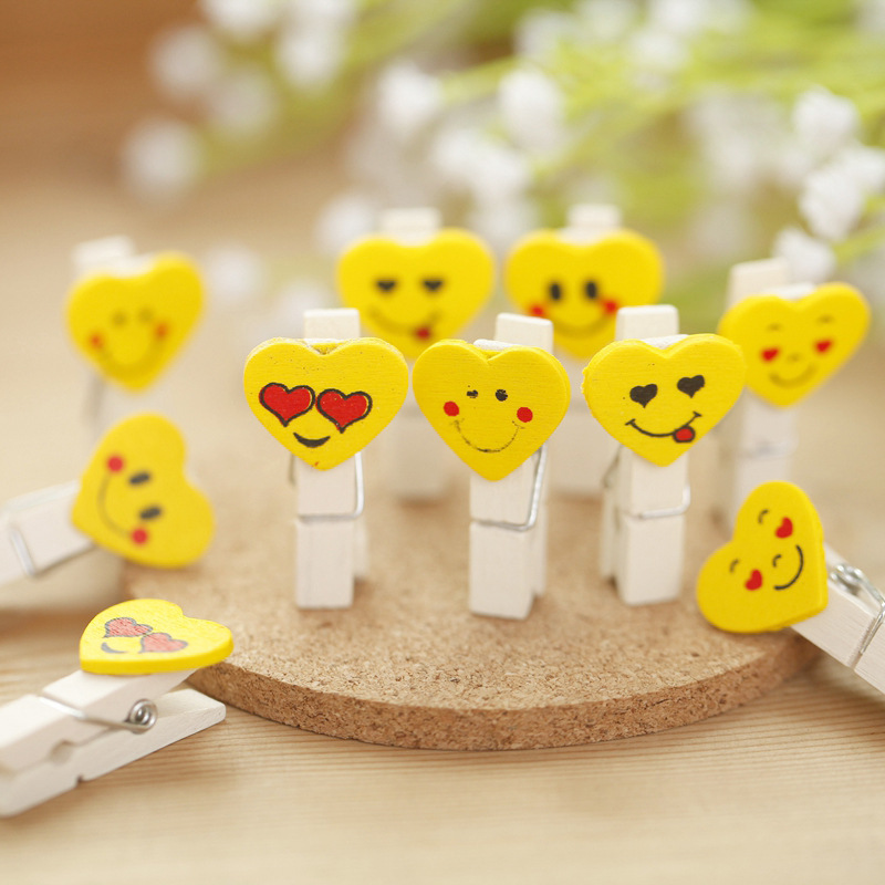 10pcs/set Emoji Emotion Wooden Clip Office Accessories Clip Paper Binder Stationery Accessoires Horse Desk School Clip Elegant Appearance Office & School Supplies