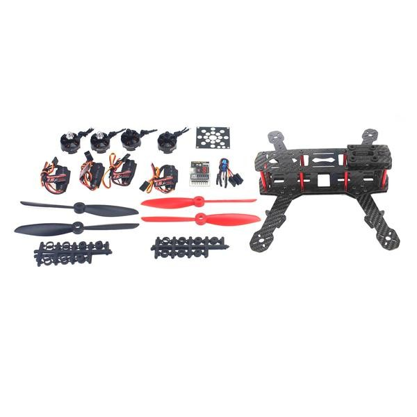 Unassembled Mini 4-Axle Aircraft Kit with Carbon Fiber Frame+Motor+ESC+QQ Super Flight Controller F09205-I drone with camera rc plane qav 250 carbon frame f3 flight controller emax rs2205 2300kv motor fiber mini quadcopter