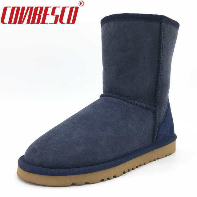 COVIBESCO Women Classic 100% Sheepskin Mid-calf Snow Boots Winter Warm Genuine Leather Women Flats Warm Shoes Sheep Fur Boots