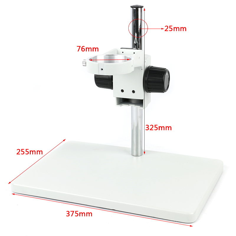 Trinocular Microscope Big Size Adjustable Boom Table Working Stand Holder + 76mm Ring Holder + Multi-axis Adjustable Metal Arm