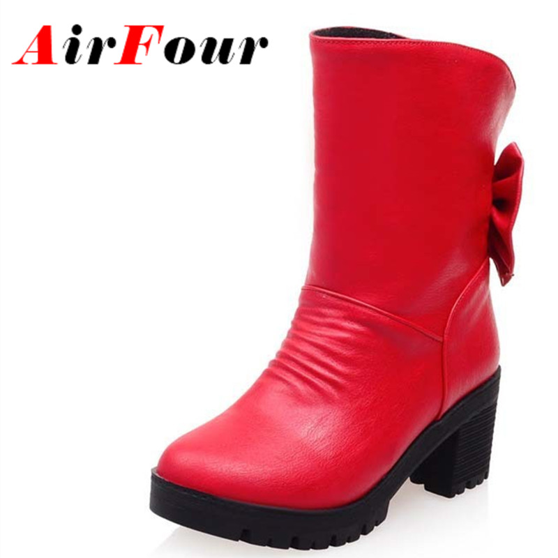 ФОТО Airfour Fashion Autumn Ladies Shoes Woman Bowtie Mid Heels Platform Short  Boots Women's Slip On Motorcycle Boots Riding Black