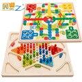 MWZ 2 в 1 деревянные шашки и Летающие шахматы головоломка игрушка образование и обучение игрушки для детей Подарки для детей