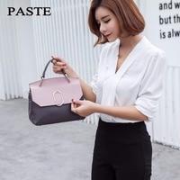 Модные Пояса из натуральной кожи Для женщин сумка Роскошные Сумки VL розовый и серый Малый Посланник Сумка панелями Сумки через плечо