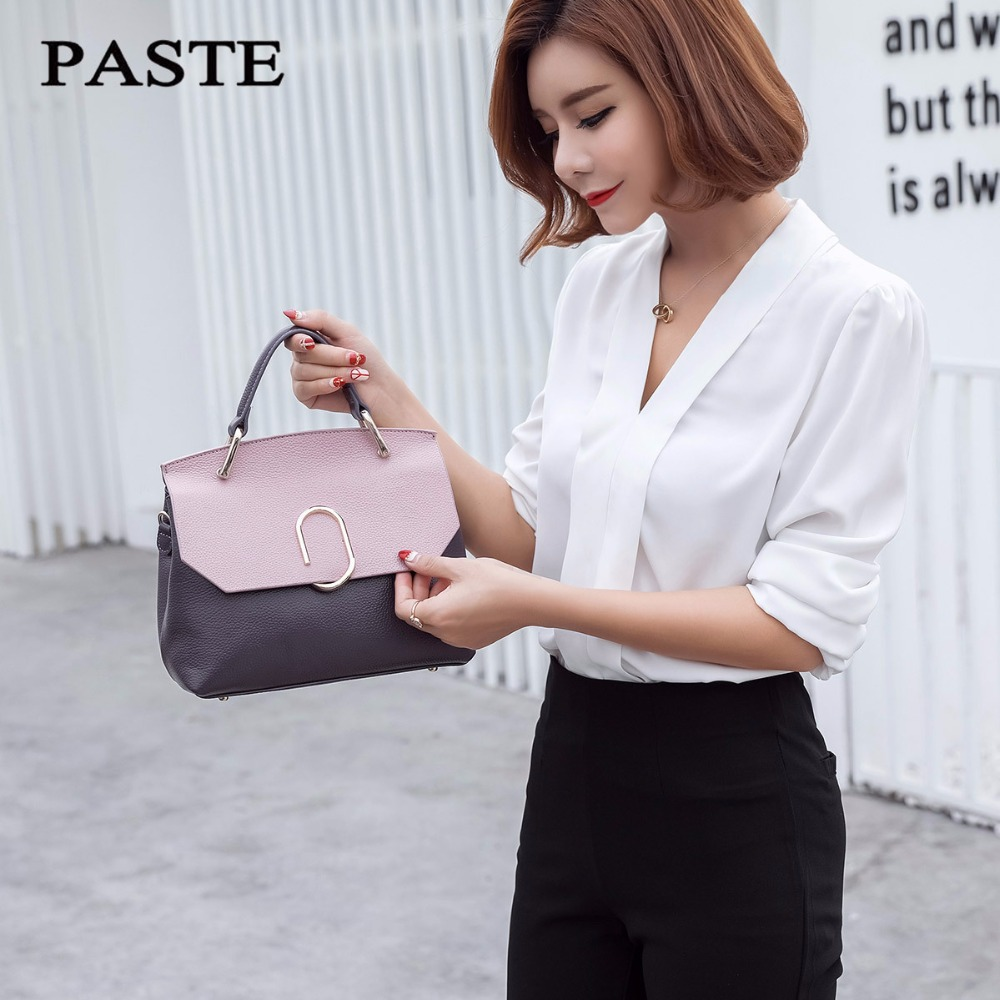 Fashion Genuine Leather Women Bag Luxury Handbags VL PINK AND GRAY  Small Messenger Shoulder Bag Panelled Crossbody Bags women shoulder bags leather handbags shell crossbody bag brand design small single messenger bolsa tote sweet fashion style