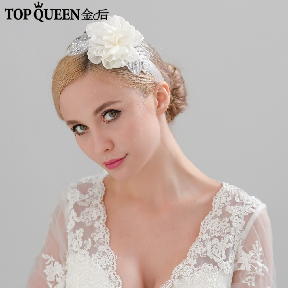 TOPQUEEN H247 Wedding Hairdress Ribbon Flowers With Rhinestone Headband  Branch Hairband Bride High Quality Hair Accessories