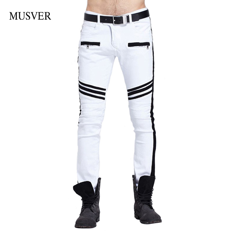 MUSVER White Biker Jeans Mens 2017 Fashion Hip Hop Runway Distressed Slim Fit Stretch Denim Pants Joggers Skinny Jeans Homme  new 2016 fashion mens cotton ripped jeans pants with rivet men slim fit white black hip hop distressed biker jeans z17