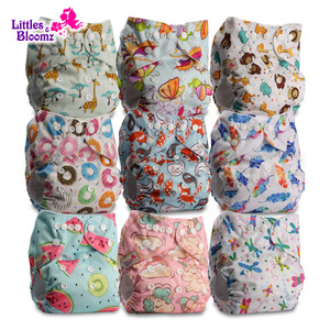 [Littles&Bloomz] 9pcs/set Baby Washable Reusable Real Cloth Pocket Nappy, 9 nappies/diapers and 0 microfiber inserts in one set(China)