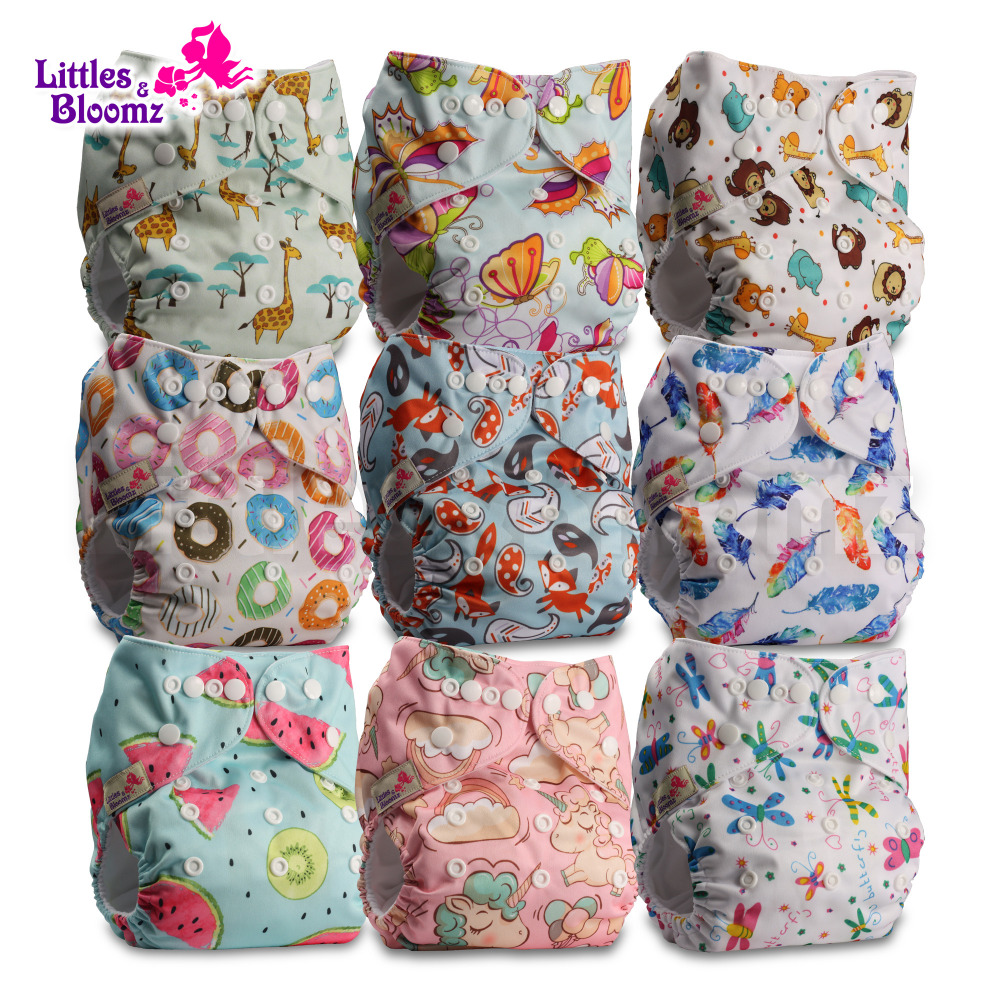 9pcs/set Baby Washable Reusable Real Cloth Pocket Nappy Diaper Cover Wrap, 9 nappies/diapers and 0 microfiber inserts in one set