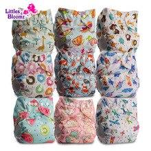 [Littles & Bloomz] 9 Stks/set Baby Wasbare Herbruikbare Echte Doek Pocket Luier, 9 Luiers/Luiers En 0 Microfiber Inserts In Een Set