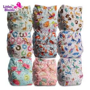Image 1 - [Littles & Bloomz] 9 Stks/set Baby Wasbare Herbruikbare Echte Doek Pocket Luier, 9 Luiers/Luiers En 0 Microfiber Inserts In Een Set