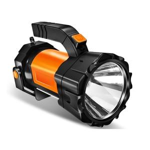 Image 2 - Super Heldere Led Zoeklicht Zaklamp Met Kant Licht 6 Verlichting Modi Aangedreven Door 18650 Batterij Voor Outdoor Camping