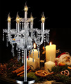 5-braço candelabros candlestick casamento candeeiro de mesa de sala de jantar De Cozinha De Prata cromo suporte de vela de cristal quarto luz da tabela