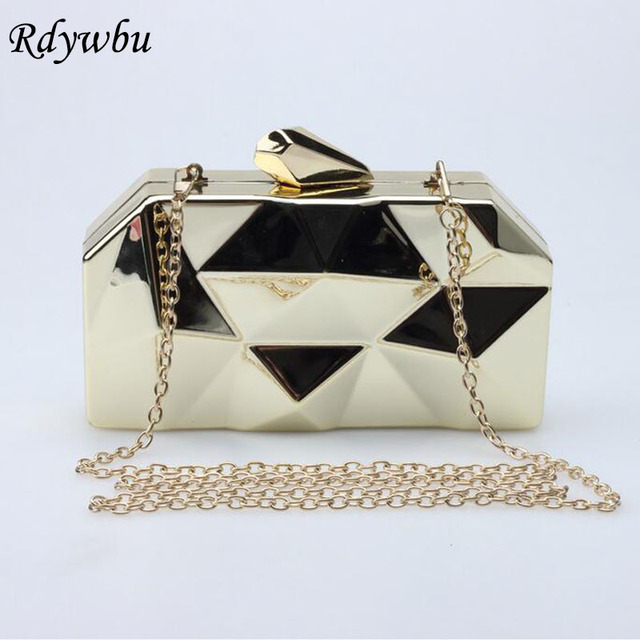 Rdywbu Hot Sale Super Luxury Popular Geometric Metal Clutches Purse Bling Bag Gold/Silver/Black Party Chain Shoulder Bag SJ147