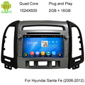 ROM 16G 1024*600 Quad Core Android 5.1.1 Apto Para Hyundai SANTA FE 2006 2007 2008 2009 2010 2011 2012 Car DVD Player GPS TV rádio