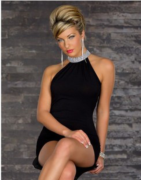 Fashion Party Club Dress Hot sell Short Mini Halterneck Sexy Club Dress With Bright Rhinestone Collar 4 color Free Shipping