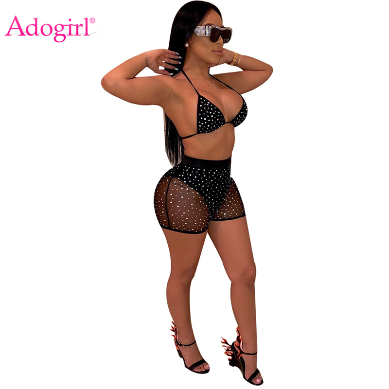Adogirl Sheer Mesh Diamanten Nacht Club Zwei Stück Set Frauen Mode Sexy Tankini Bademode Bh Top + Sommer Shorts Party outfits