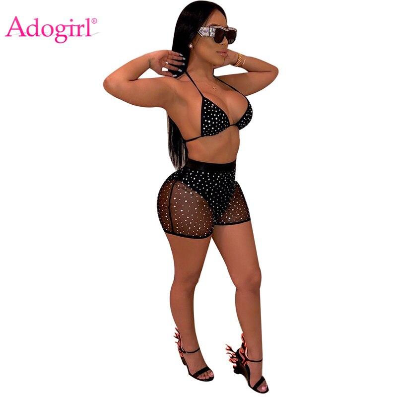 Adogirl Sheer Mesh Diamonds Night Club Two Piece Set Women Fashion Sexy Tankini Swimwear Bra Top + Summer Shorts Party Outfits